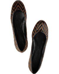 Burberry Prorsum | Black Glamorgan Raffia Ballet Flats | Lyst