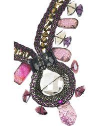 Oscar de la Renta - Purple Stone Embellished Rhodium Plated Necklace - Lyst
