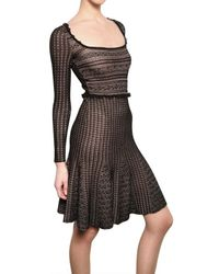 Valentino | Black Viscose Lace Wool Jersey Dress | Lyst