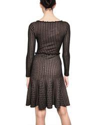 Valentino - Black Viscose Lace Wool Jersey Dress - Lyst