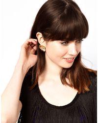 ASOS - Metallic Crumpled Square Stud Earrings - Lyst