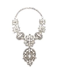 Deepa Gurnani | Metallic Crystal Applique Statement Necklace - Silver | Lyst