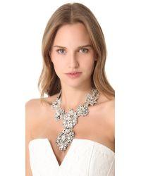 Deepa Gurnani - Metallic Crystal Applique Statement Necklace - Silver - Lyst