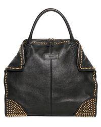 Alexander McQueen Black Large Demanta Studs Leather Top Handle