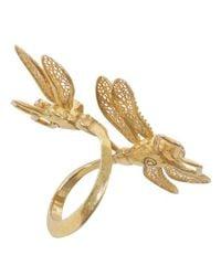 Alexander McQueen - Metallic Gold Twin Skull Dragonfly Ring - Lyst