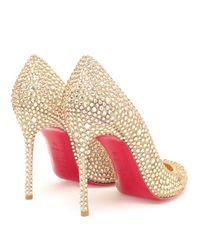 Christian Louboutin | Gold Fifi Swarovski Crystal Embellished Pumps | Lyst