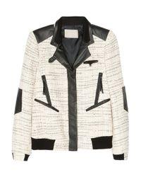 Jason Wu | Natural Leather-trimmed Tweed Bomber Jacket | Lyst