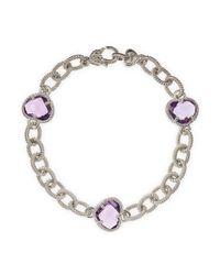 Judith Ripka | Metallic Amethyst Threestation Bracelet | Lyst