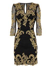 Karen Millen - Black Baroque Mesh Dress - Lyst
