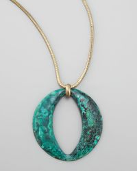 Panacea | Blue Long Patina Circle Pendant Necklace | Lyst
