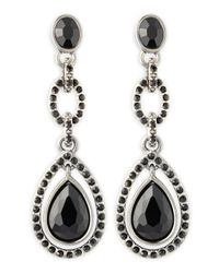 R.j. Graziano | Black Rhinestone Drop Earrings | Lyst