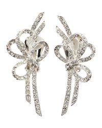Kenneth Jay Lane | Metallic Doublebow Pave Clipon Earrings | Lyst