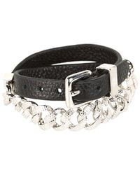 Marc By Marc Jacobs - Metallic Leather and Chain Double Wrap Bracelet - Lyst