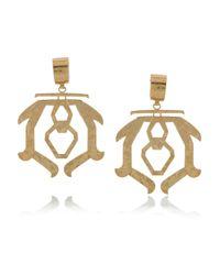 Etro   Metallic Hammered Brass Clip Earrings   Lyst
