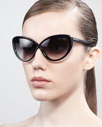 Tom Ford Black Madison Oversized Cateye Sunglasses