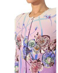 Blumarine Purple Swarovski Printed Spandex Knit Jacket
