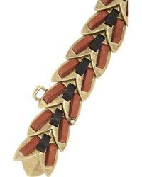 Giles & Brother - Orange Nara Armor 14karat Goldplated Leather Bracelet - Lyst