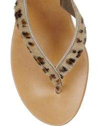 K. Jacques Multicolor Diorite Calf Hair and Cork Wedge Sandals