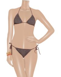 Chloé - Brown Broderie Anglaise Laser-cut Triangle Bikini - Lyst