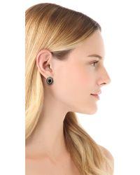 Adia Kibur - Metallic Crystal Oval Stud Earrings - Lyst