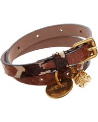 Alexander McQueen - Brown Whip Snake Belt Bracelet with Skull Charm for Men - Lyst