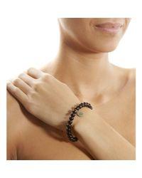 Devon Page Mccleary | Black Sandalwood Bead Bracelet with Diamond Angel Charm | Lyst