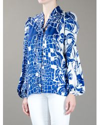 Emilio Pucci - Blue Pussy Bow Blouse - Lyst