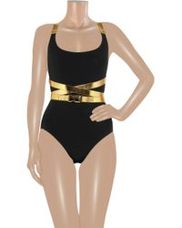 Michael Kors - Black Speed Clip Wraparound Maillot - Lyst