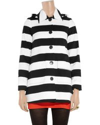Alice + Olivia - Black Constance Striped Stretch-cotton Hooded Coat - Lyst