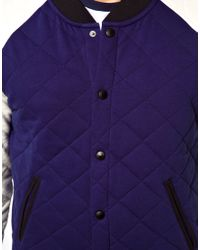 ASOS - Blue Asos Varsity Jacket in Quilted Fabric for Men - Lyst