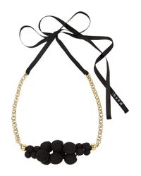 Marni | Black Canvascovered Bead Necklace | Lyst