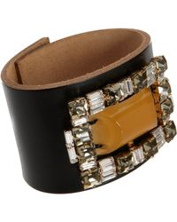 Marni - Gray Leather Cuff with Crystals Center Stone - Lyst