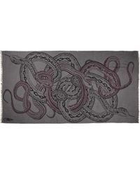 Horiyoshi III - Gray Snake Printed Silk and Cashmereblend Scarf for Men - Lyst