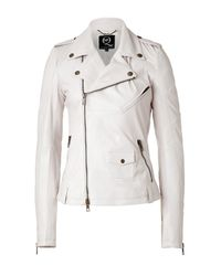 McQ - Natural Leather Biker Jacket in Cream - Lyst