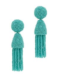 Oscar de la Renta | Blue Short Beaded Tassel Earrings | Lyst