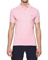 Ralph Lauren Blue Label - Pink Cotton Piquet Logo Slim Fit Polo for Men - Lyst