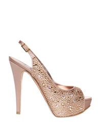 Gina | Natural 125mm Asha Satin and Crystals Sandals | Lyst