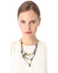Iosselliani - Blue Multi Strand Crystal Necklace - Lyst