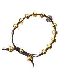 Tai - Brown Golden Hammered Bead Bracelet - Lyst