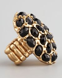 Panacea | Black Crystal Stretch Ring | Lyst