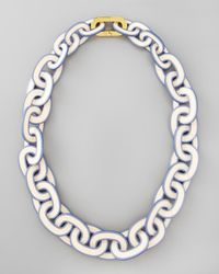 Tory Burch | Blue Paintededge Resin Link Necklace | Lyst