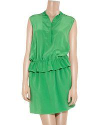 Chloé - Green Silk Crepe De Chine Dress - Lyst