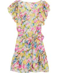 Collette by Collette Dinnigan - Multicolor Floral-print Silk-satin Dress - Lyst