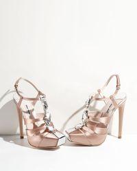 Miu Miu - Pink Bejeweled Tstrap Satin Sandal - Lyst