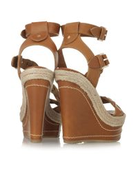 Mulberry | Brown Leather Wedge Sandals | Lyst