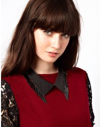 ASOS - Black Leather Bead Collar Necklace - Lyst