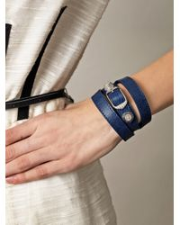 Balenciaga | Blue Studded Leather Bracelet | Lyst