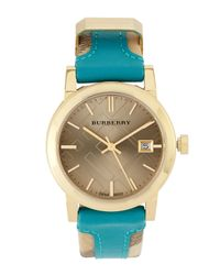 Burberry | Blue Checkengraved Watch | Lyst