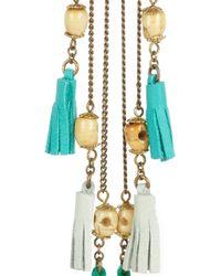 Isabel Marant - Metallic Bone and Leather Tassel Earrings - Lyst