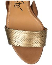Lanvin - Metallic Python and Leather Sandals - Lyst